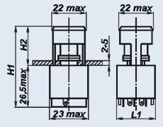 Кнопочный переключатель П3П1Т-3ЖВ