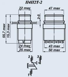 Кнопочный переключатель П4П2Т-2КВ