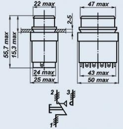 Кнопочный переключатель П4П2ТА-3ЗВ