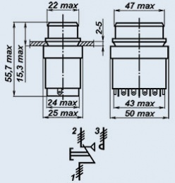 Кнопочный переключатель П4П2ТА-3КВ