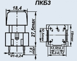 Кнопочный переключатель ПКБ3-1 красн.