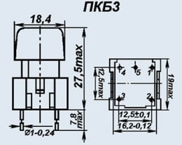 Кнопочный переключатель ПКБ3-3 черн.