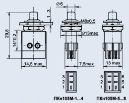 Кнопочный переключатель ПКН105М-5
