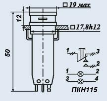 Кнопочный переключатель ПКН115-2б/жВ