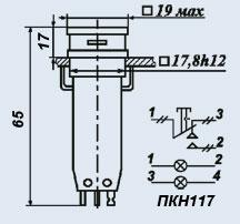 Кнопочный переключатель ПКН117-1жВ