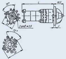 Купить Малогабаритный галетный переключатель П2Г3-10П1Н