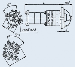 Купить Малогабаритный галетный переключатель П2Г3-3П4Н