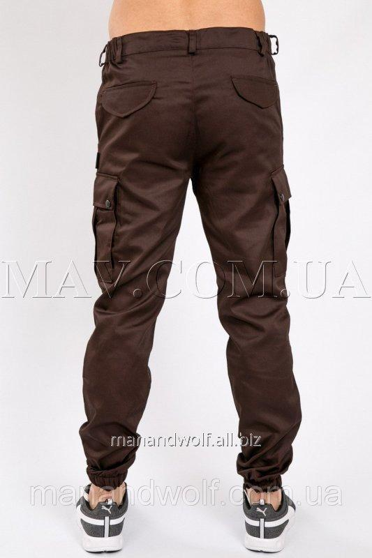 c14259940679 Штаны брюки карго cargo мужские коричневые man and wolf pants cotton