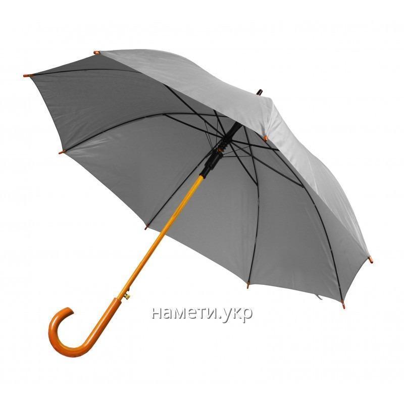 Зонт трость полуавтомат серый