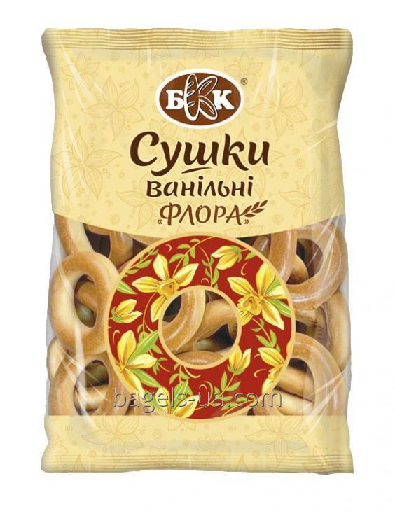 """Bagels vanilla """"Flora"""". Packing weight - 7,5 kg., in a gofrotara. Are made of sweet wheat dough with a glossy and smooth surface."""