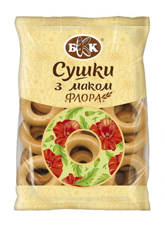 Drying bagels with poppy seeds Flora. Packing - 300 g. Are made of sweet wheat. does not contain animal fats. DSTU.