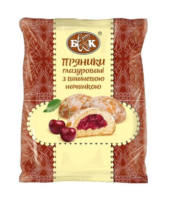 Пряники глазированные с вишневой начинкой. Фасованные - 190 г., Срок хранения 4 мес. ГОСТ