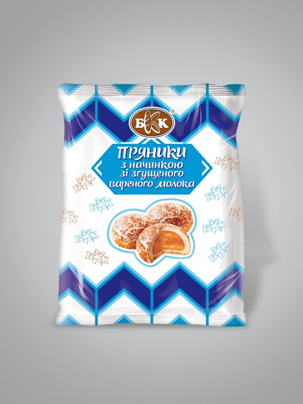 Пряники с начинкой со сгущенного вареного молока. Фасованные - 240 г., Срок хранения 4 мес. ГОСТ