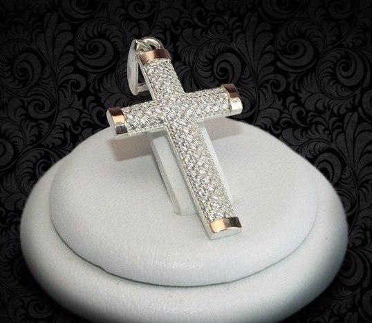 Купить Серебряный крестик с накладками золота
