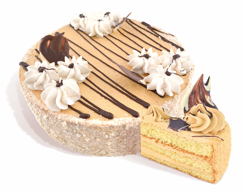 Buy Svetlana cake biscuit of the air and nut cake layers covered with dairy cream is decorated with confectionery cream glaze. Weight: 1 kg.