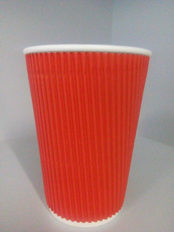Стакан горфрированый красный 240 мл