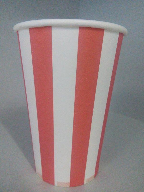 Бумажные стаканчики 340 мл, красно белые полоски