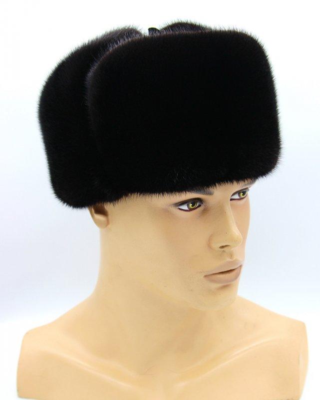 """Купить Норковая меховая шапка черная мужская ушанка """"Классическая"""" полностью из меха."""
