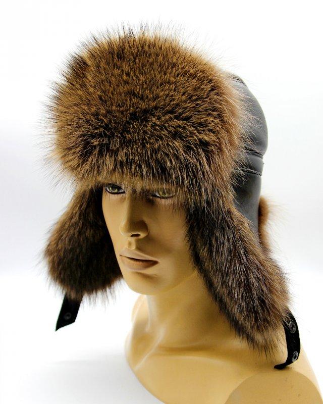 """Купить Мужская шапка ушанка из меха енота """"Пилот"""" тонированная."""