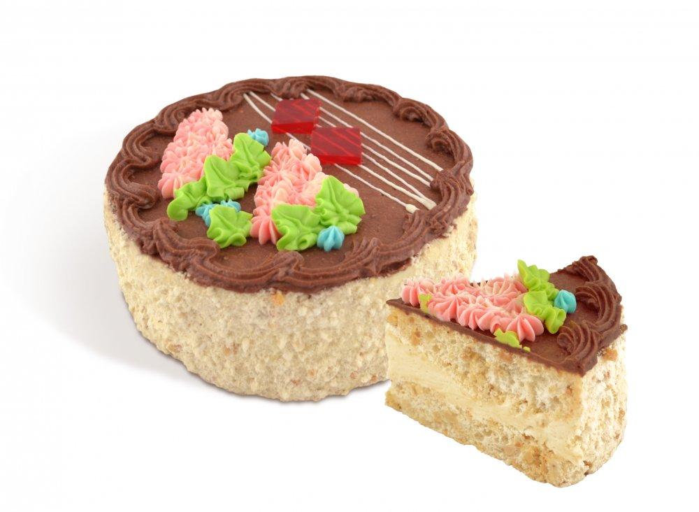 Торт «Киевский новый» из нежных воздушно-ореховых коржей, с большим количеством фундука, прослоен ванильным кремом на основе сливочного масла и крема с какао. Весом 500г; 800г.