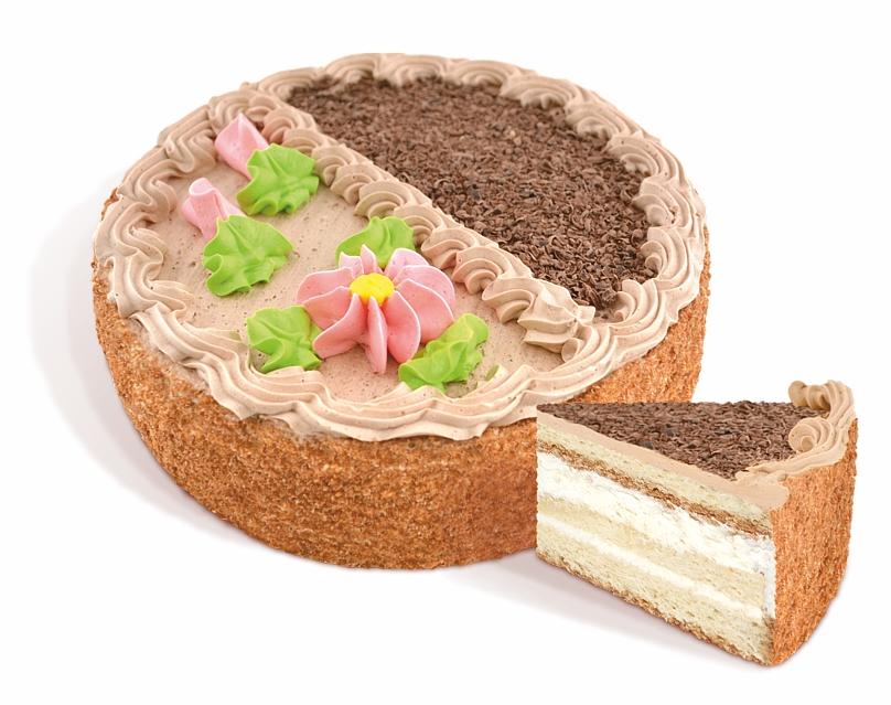 Торт «Лакомый» из бисквитных и белково – воздушных коржей. Покрыт сливочным кремом с какао- порошком, покрыт росписью из крема и кондитерской глазурью. Вес: 0,5 кг.