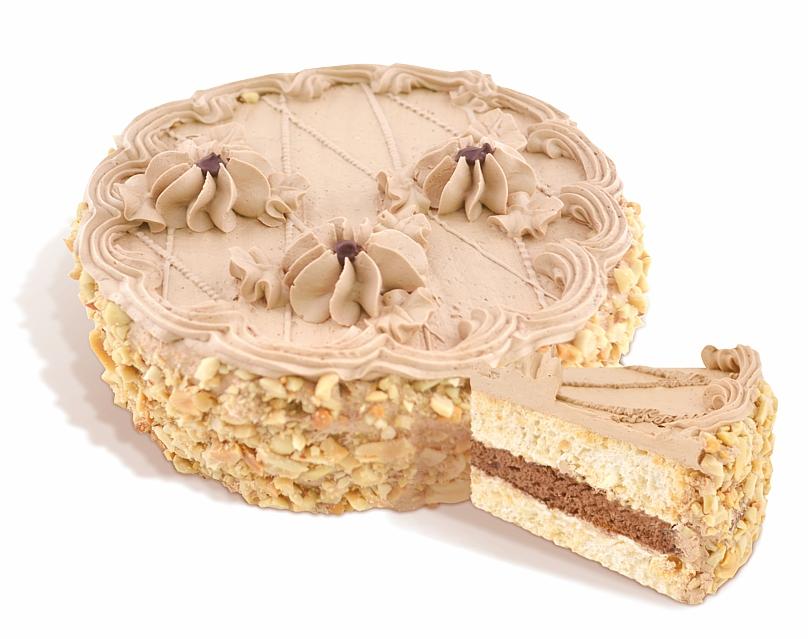 Торт «Мулатка» бисквитный из воздушно-ореховых коржей, покрыт сливочным кремом с добавлением кондитерской глазури, боковая поверхность покрыта жареным арахисом. Вес: 0,5; 1,0 кг.