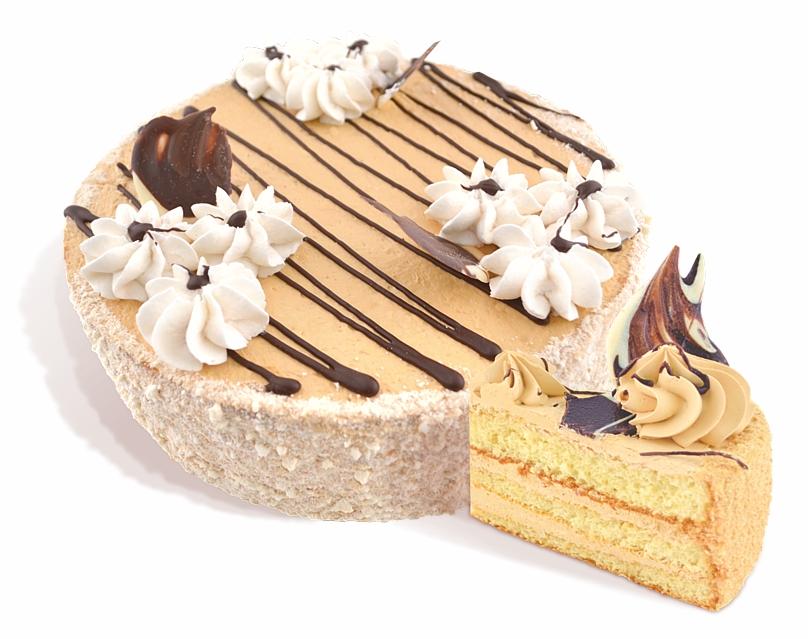 Торт «Светлана» бисквитный из воздушно-ореховых коржей покрытых молочным кремом, украшен кондитерской глазурью из крема. Вес: 1 кг.