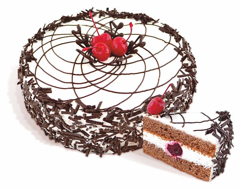 """Kuchen """"Trunkenheit am Cherry"""" biscuit Creme mit der Zugabe von Kakaosirup imprägniert und mit dem Zusatz von Sauerrahm alkoholisierten Kirschen beschichtet. Gewicht: 650 g, 1,2 kg."""
