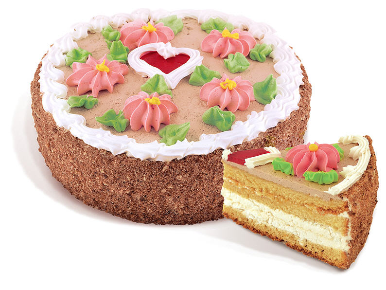Торт «Лакомка» бисквитный покрытых ванильно-сливочным кремом, декорирован кремовыми узорами у виде цветов желе в форме сердца. Вес: 1 кг.