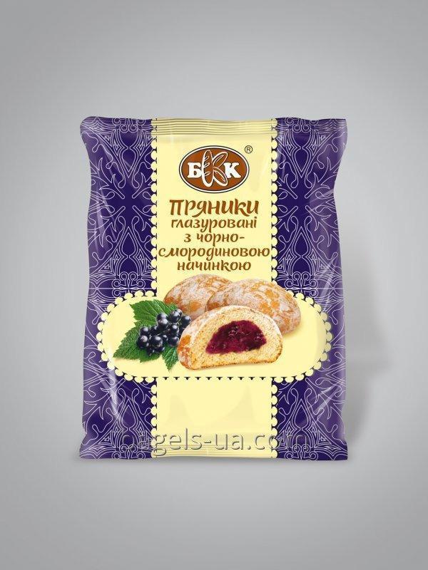 Пряники глазированные с черносмородиновой начинкой. Фасованные - 190 г, Срок хранения 4 мес. ГОСТ