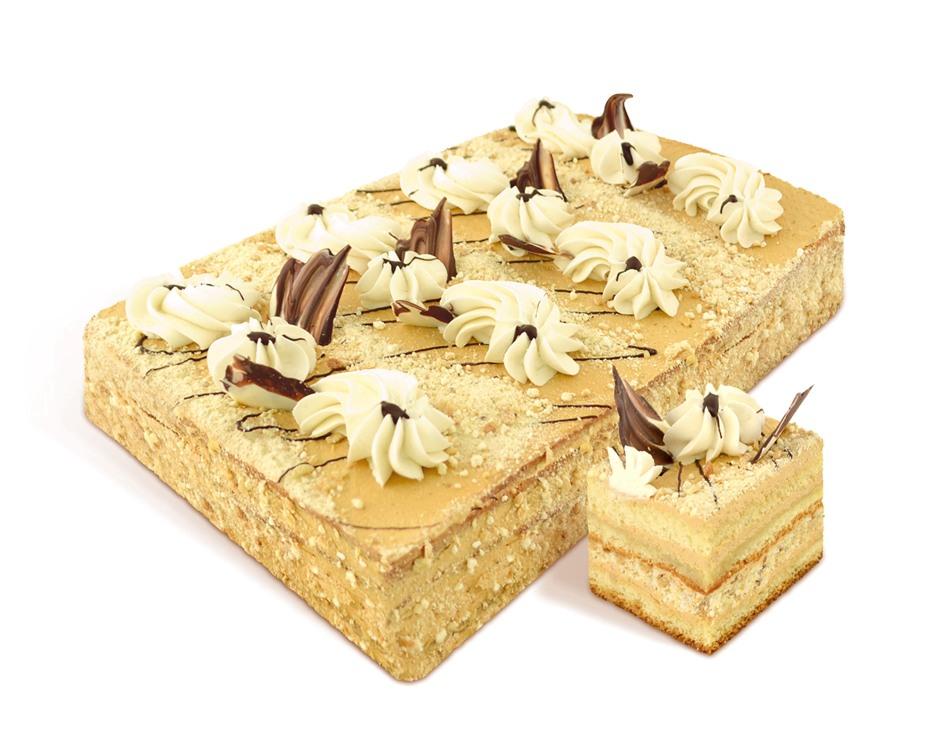 """Cake """"Svetlana"""" biscuit van de lucht-notentaarten, zuivelroom behandeld. Taart versierd met boter room en chocolade decoraties. Gewicht: 1kg, 2kg. GOST."""