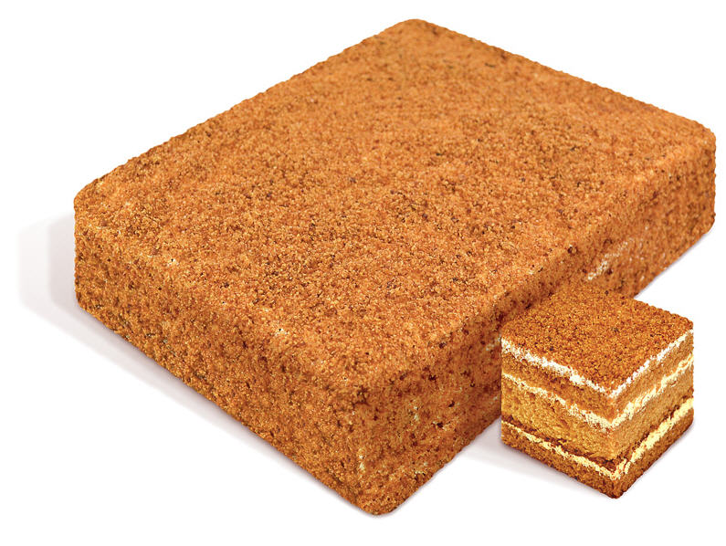 "Cake ""Honey"" rectangular layers of honey cakes flavored with natural honey, is coated with custard cream by adding light decorated honey crumb. Weight: 0.7, 1.0, 2.2"