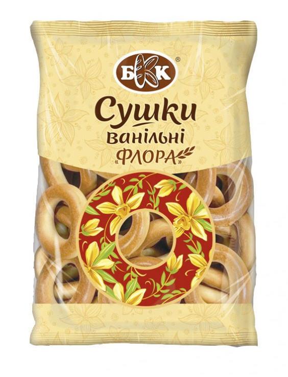 Сушки ванильные «Флора». Вес упаковки - 300 г. Изготовлены из сладкого пшеничного теста с глянцевой и гладкой поверхностью.