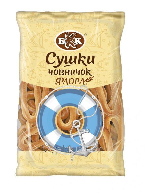 """Сушки челночок """"Флора"""". Фасовка - 300 г. Изготовлены из сладкого пшеничного теста. Не содержит животных жиров"""
