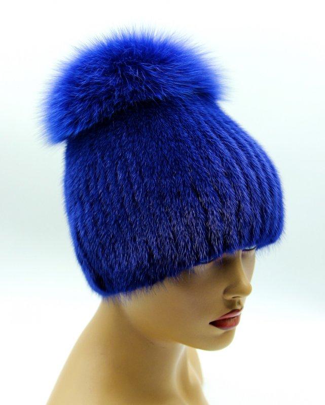 шапка из меха шарик на вязаной основе с бубоном топан купить в киеве