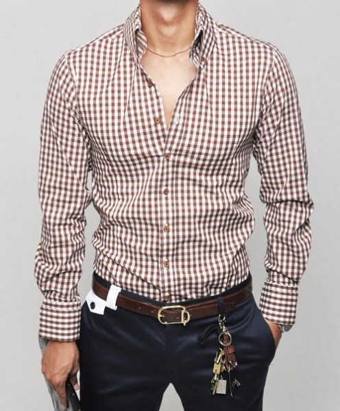 Мужские приталенные рубашки модные в