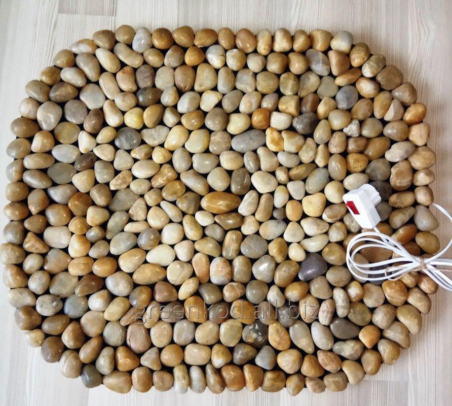 Массажный коврик из натурального камня (гальки) с подогревом, 65*55.