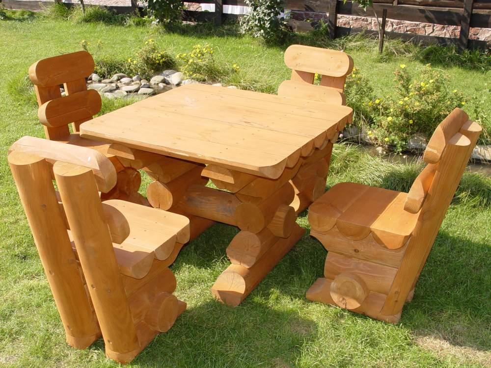 Стол и стулья из бревна 147