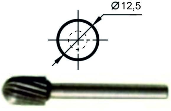 Купить Борфреза сфероцилиндрическая С Ø12,5 мм., нормальной точности
