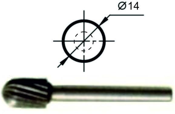 Борфреза сфероцилиндрическая С Ø14 мм., нормальной точности