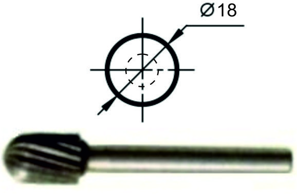 Борфреза сфероцилиндрическая С Ø18 мм., нормальной точности