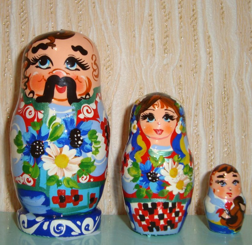 Украинская расписная матрёшка из 3-х штук средняя 318