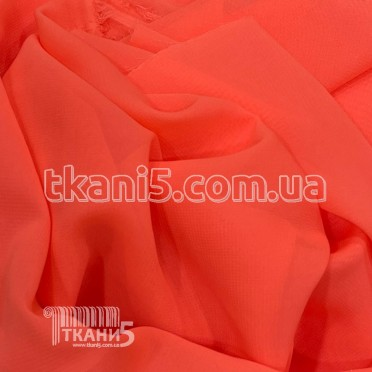 Buy Fabric Chiffon monophonic (bright coral) 4836