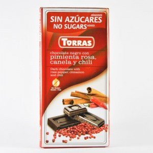 Buy Dark chocolate (without sugar, without gluten) Torras with cinnamon, pink pepper and chili pepper 75 of of 35 UAH.