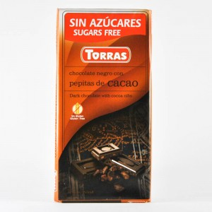 Buy Dark chocolate with shredded cocoa (without sugar, without gluten) Torras pepitas de cacao 75 of the Article: shk19 35 UAH.