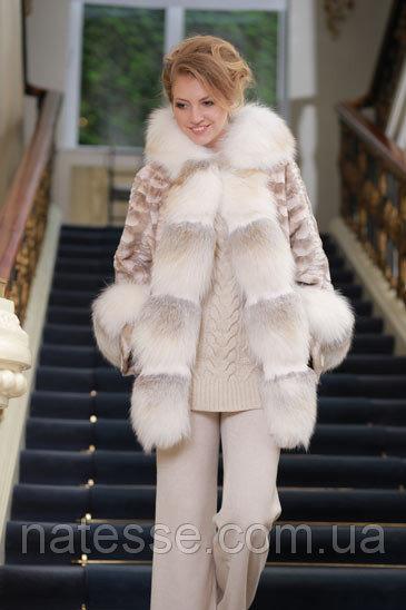 Шуба полушубок из лобиков норки с отделкой из полярной лисы sculptured mink fur coat with polar fox fur trim