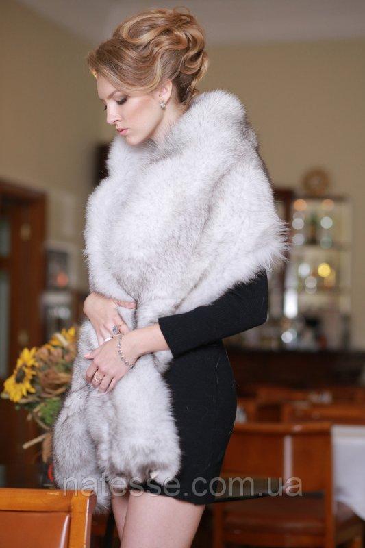 Меховая накидка палантин из песца (перфорация)  Blue fox fur cape pelerine