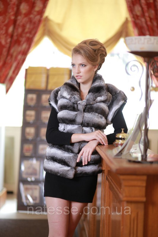 Жилет жилетка из шиншиллы Chinchilla fur vest gilet sleeveless over coat