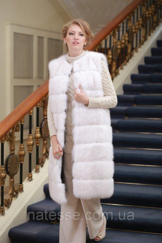 Жилет из белого полярного песца (перфорация) Convertible Blue fox fur vest
