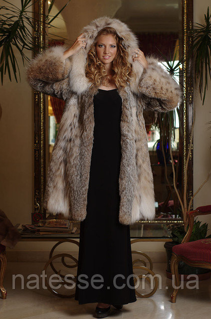 Шуба из рыси канадской hooded lynx fur coat